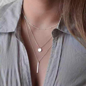 Womens Personality Rustless Gold Silver Color Stainless steel chain Found Pendant Multilayer 3 Layers girl Necklaces Choker