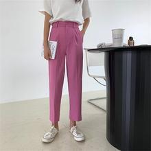 HziriP – pantalon Slim OL Chic Vintage rétro, jambes larges, couleur unie, coupe droite, taille haute, grande taille, longueur cheville, 2020