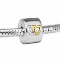 Hearts Aglow Clip Beads for Silver 925 Original Charms Bracelets Women Jewelry DIY Golden Shine Heart Beads for Jewelry Making