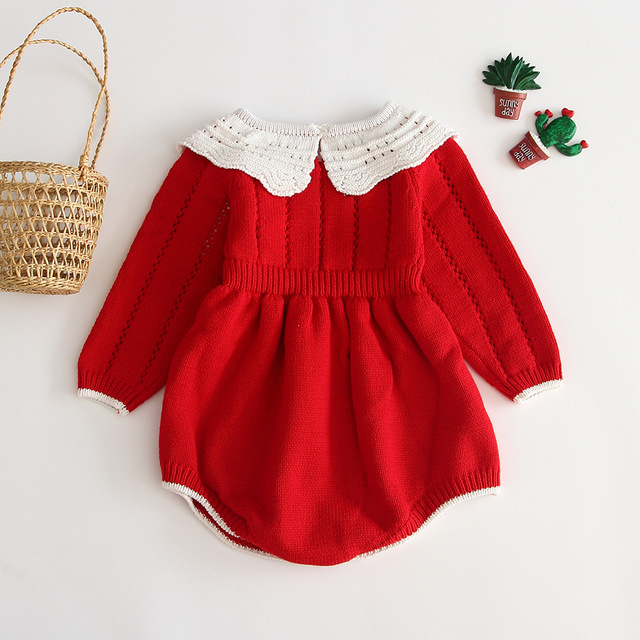 Baby Girls Knitting Romper 2019 Autumn Red Girl Clothes Newborn Baby Girl Clothes Fashion Knitted Romper Overalls Autumn Sweater 1