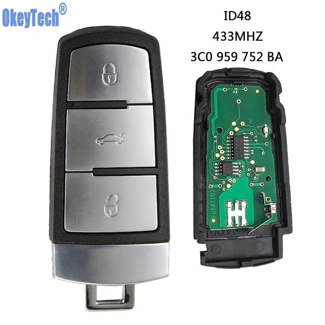 OkeyTech Keyless Uncut odwróć inteligentny pilot zdalnego sterowania samochodu 433MHZ z chipem ID48 3C0959752BA dla volkswagena passata B6 3C B7 Magotan CC