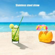 304 Stainless Steel Sturdy Bent Straight Straw Reusable Metal Drinking Straws Set