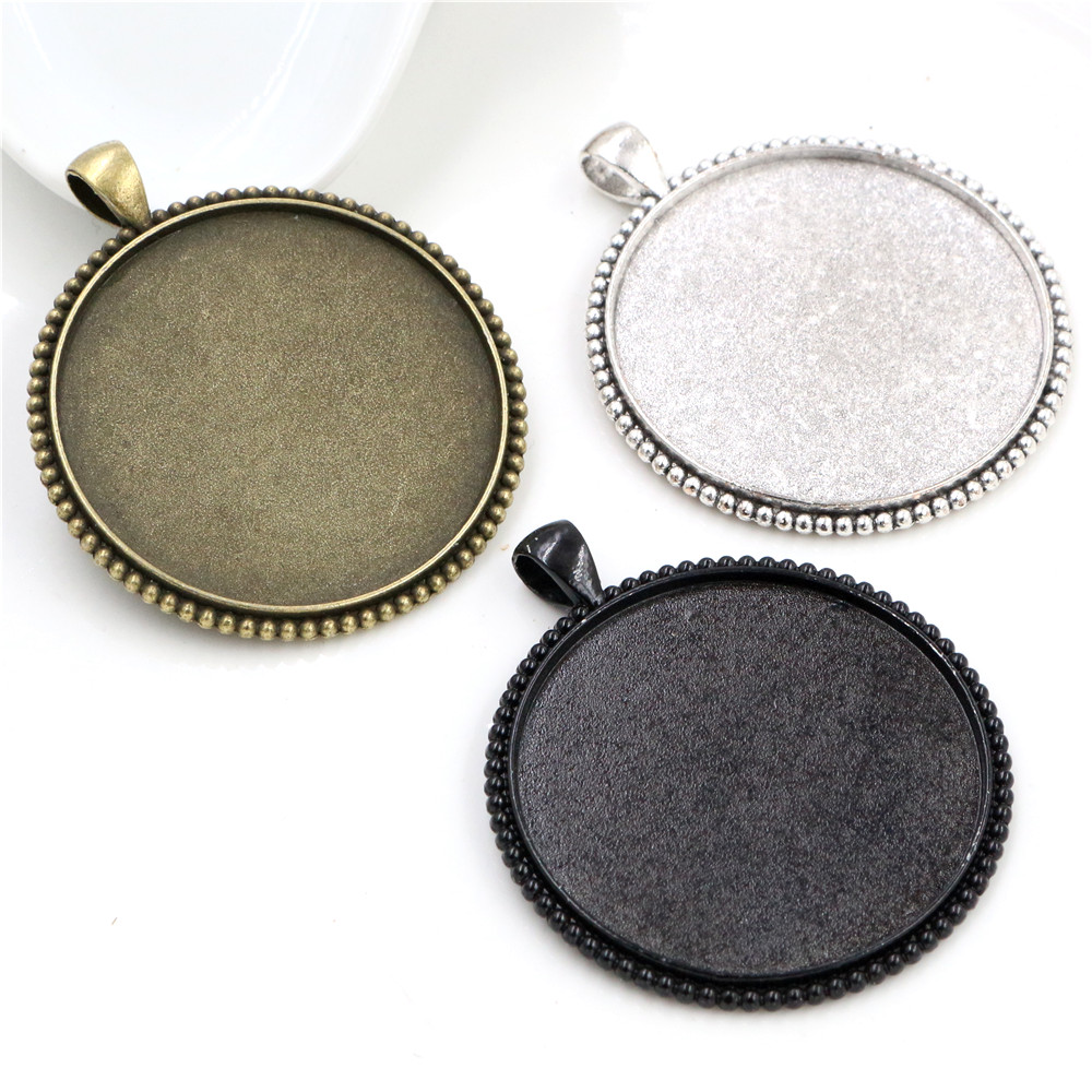 5pcs/lot 40mm Inner Size Antique Bronze And Silver Plated Black Colors Plated Fashion Style Cabochon Base Setting Charms Pendant