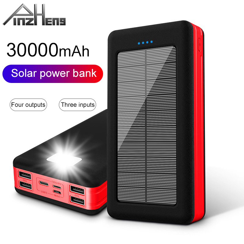 PINZHENG <font><b>30000mAh</b></font> <font><b>Solar</b></font> <font><b>Power</b></font> <font><b>Bank</b></font> For Xiaomi Mi LED Light Portable Charging External Battery Poverbank <font><b>30000mAh</b></font> USB Powerbank image
