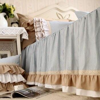 Fashion blue plaid bedspreads handmade wrinkle lace patchwork bedpsread elegant bed sheet Christmas bedding princess bed cover