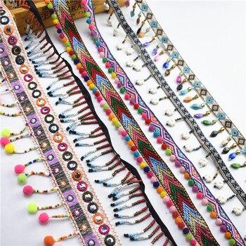 1Yards/Lot Silk Tassel Fringe Trim Lace Ribbon Pompom Fabric Sewing Garment Shoes Bag Materials Accessory Tassels