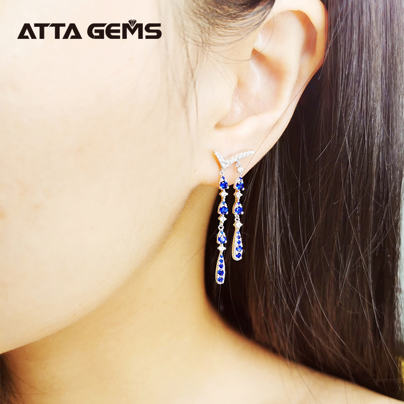 Blue Sapphire Sterling Silver Drop Earring for Women Wedding Engagement Jewelry S925 Created Blue Sapphire Classic Design
