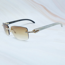 Rhinestone Shades Sun-Glasses Buffalo-Horn Carter Luxury Rimless Men Eyewear Zircon Gafas-De-Sol