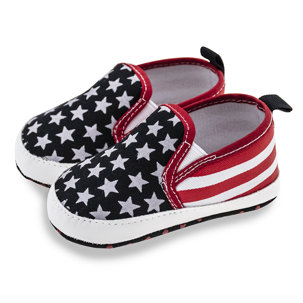 Newborn Toddler Baby Shoes Star Gingham Soft Sole Cotton Flag Style Infant Anti-Slippery Casual Canvas Crib Shoes Moccasins Baby