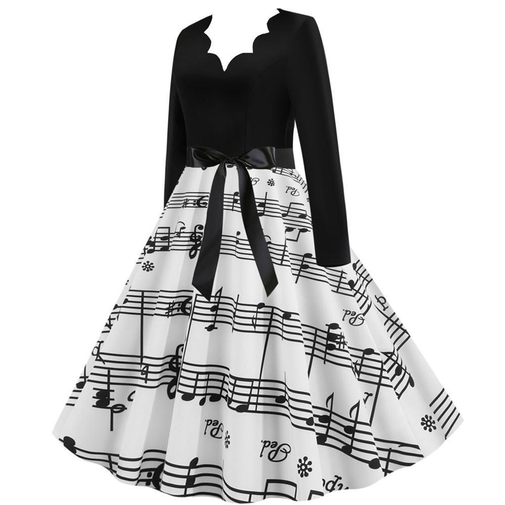 Christmas Dress Women Musical Note Printed Bandage Bow Big Swing Long Sleeve Party Dress  Xmas Women Black Dress