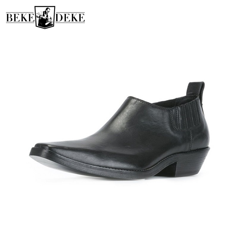 Runway Fashion New Ankle Boots Men Designer Chelsea Boots Business Italian Genuine Leather Square Toe Slip On Dress Shoes Botas