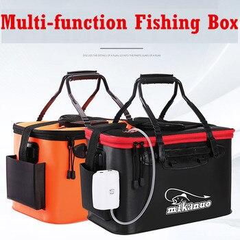 Portable EVA Fishing Bucket Bag Collapsible Fishing Bucket Live Fish Box Bucket Oxygen Pump Outdoor Fishing Tackle Storage Bags