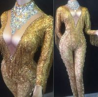 Gold Long Sleeve Beading Tassel DJ Party Bodycon Jumpsuit stage celebrate Sexy Dancer Costumes