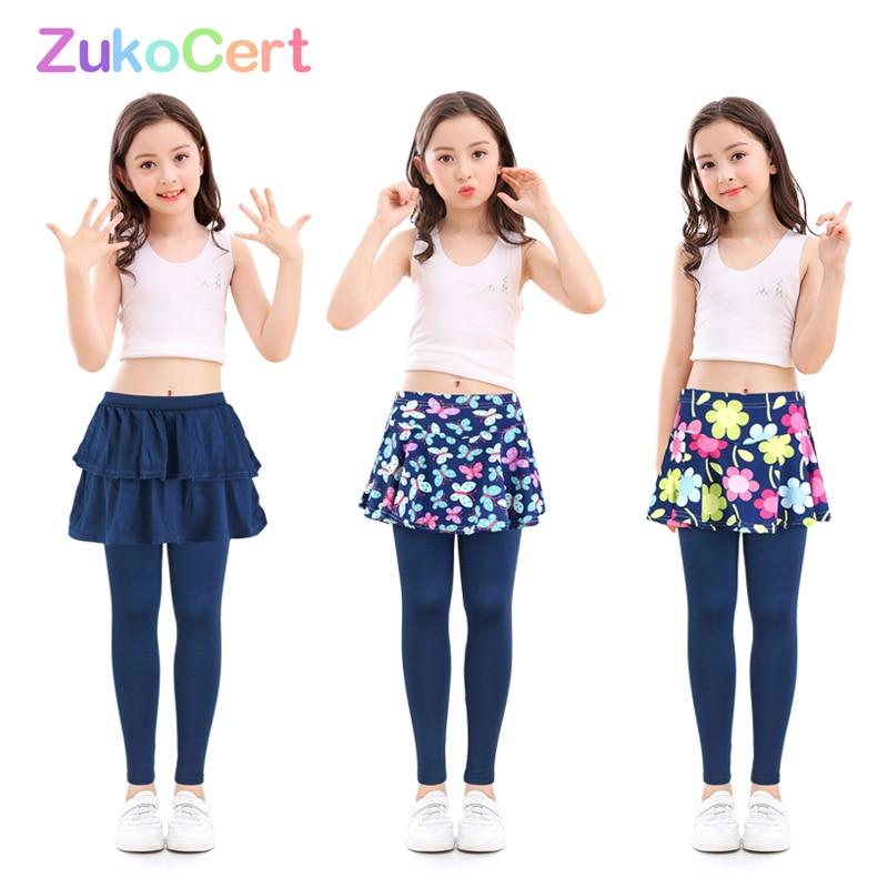 algodao criancas meninas leggings com saia culottes render calcas para criancas flor floral impresso elastico lapis