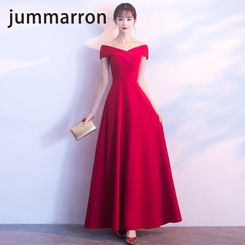 jummarron 2020 women <font><b>dresses</b></font> new vestidos de fiesta formal <font><b>dress</b></font> slash neck red <font><b>dress</b></font> black <font><b>dress</b></font> ankle length image