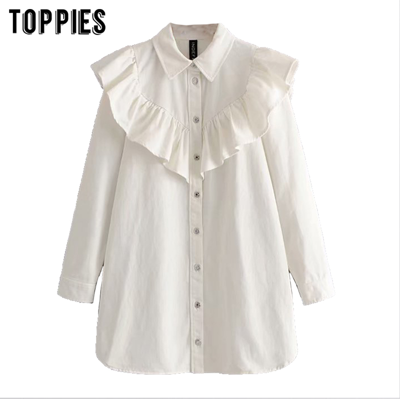 2020 White Denim Dress Women Jeans Shirt Dress Loose Long Jacket Cascading Ruffles Oversize Tops Women