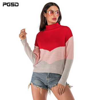PGSD New Autumn winter Coloured Turtleneck knitted women sweater Long Bat sleeve loose clothes female Warm soft Casual Pullover pgsd autumn winter women clothes simple solid lace stitching short hoodie bat sleeve loose sweatshirt pullover casual top female