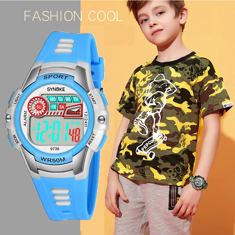 SYNOKE Kids Watches Digital Watch Anti-Shock 3Bar Waterproof Outdoor Sport Led Light Children Clock Fashion Relogio Masculino