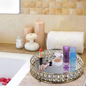 Image 3 - クリスタルラウンドデザートカップケーキバニティトレイホルダープレート結婚式の装飾香水、ジュエリーや化粧北欧スタイル