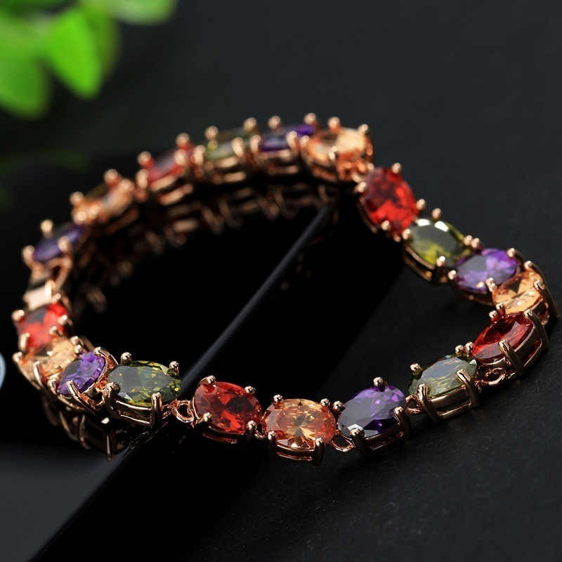 PANSYSEN 17CM Charms Ruby Amethyst Peridot Gemstone 925 Sterling Silver Jewelry Bracelets for Women Fashion Bracelet Party Gifts