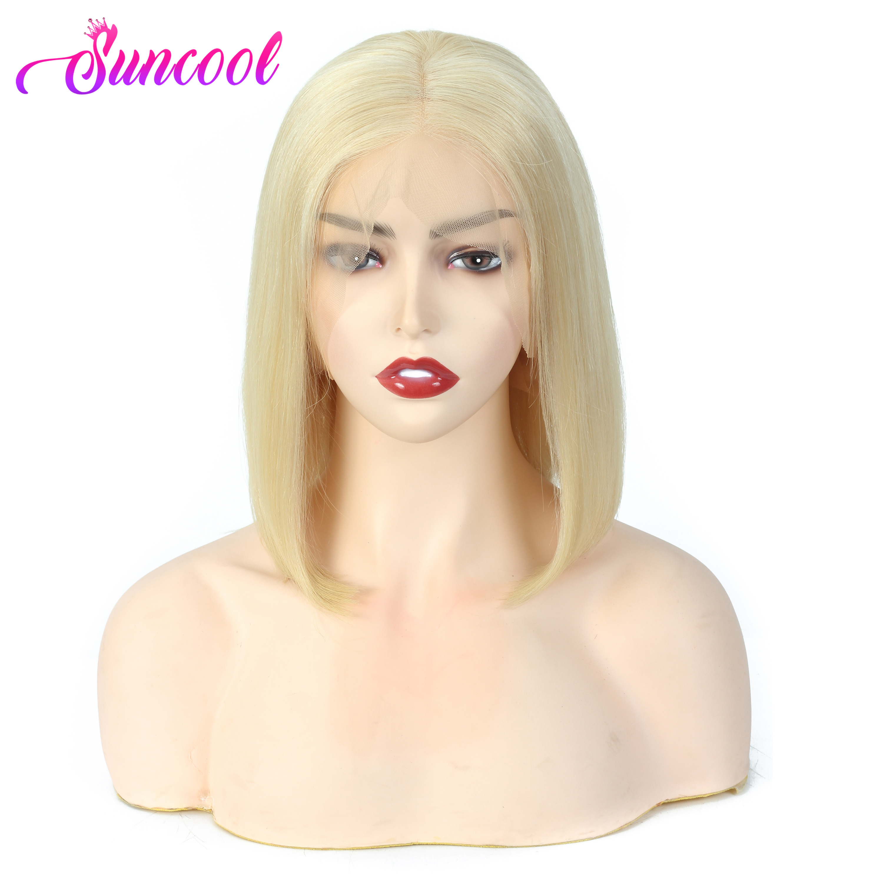 Straight Bob Lace Front Wigs Pre Plucked Hairline Suncool Short Human Hair Wigs Brazilian Straight Blonde 613 Lace Front Wigs
