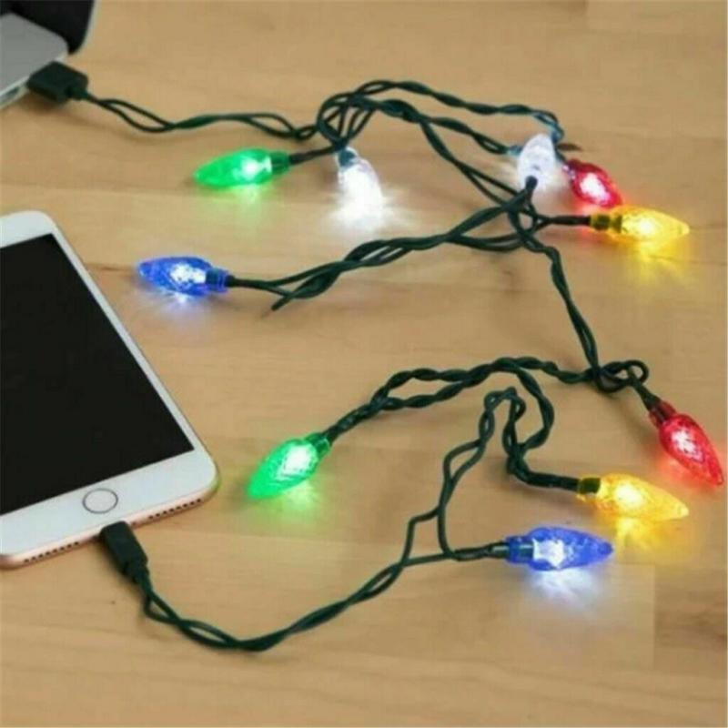 2020 Merry Christmas Light LED USB Cable DCIN Charger Lightning Cord For Android Phone Promotion