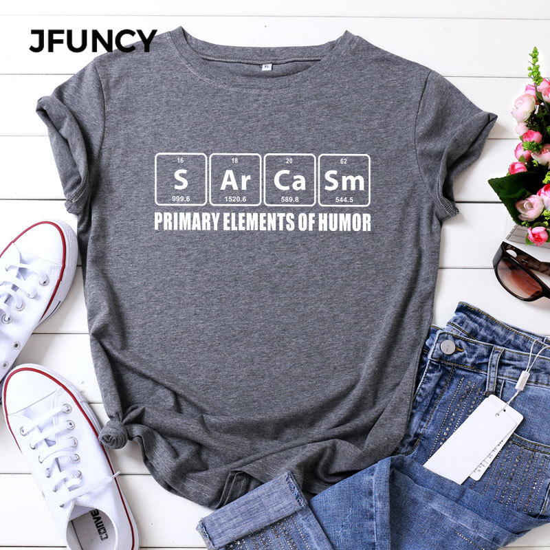 JFUNCY Plus Size T Shirts Women Funny Casual Summer Cotton T-Shirt Solid Color Letter Print O Neck Short Sleeve Cute Tee Tops