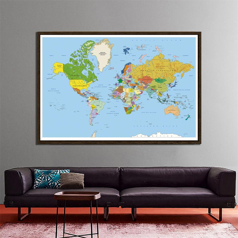 150x225cm Non-woven Regular World Map Mercator Projection For Culture And Education