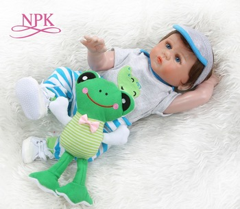 NPK 48CM bebe doll reborn toddler boy doll  full body silicone Bath toy 100% hand detailed paiting pinky look