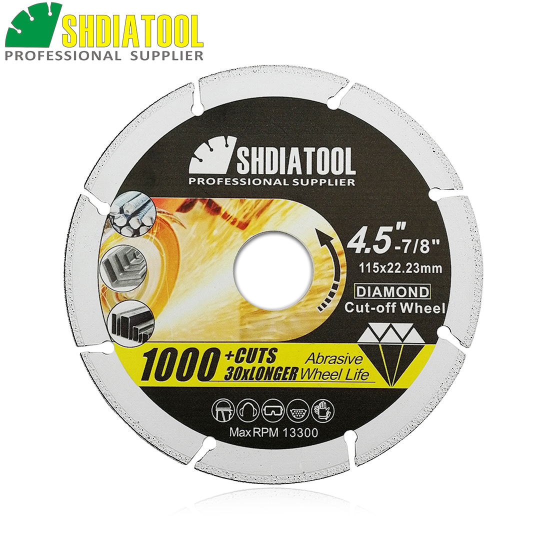 SHDIATOOL 1pc Vacuum Brazed Diamond Metal Cutting Disc Diamond Cut-off Wheel Blade Cutting Steel Tube, Iron Rebar, Angle Steel