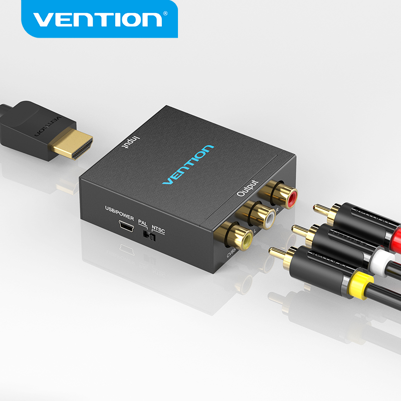 Vention HDMI to AV Converter HDMI to RCA CVBS L/R Video Adapter 1080P HDMI Switch with Mini USB Power Cable for TV Box AV HDMI