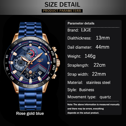 2019 New Mens Watches LIGE Top Luxury Brand Business Blue Stainless Steel Quartz Watch Mens Casual Waterproof Date Chronograph Islamabad
