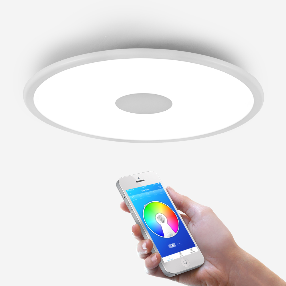 Lumière de plafond moderne à LEDs rvb gradation bluetooth haut parleur 36W APP contrôle salon chambre intelligente plafonnier 90 265V - 6
