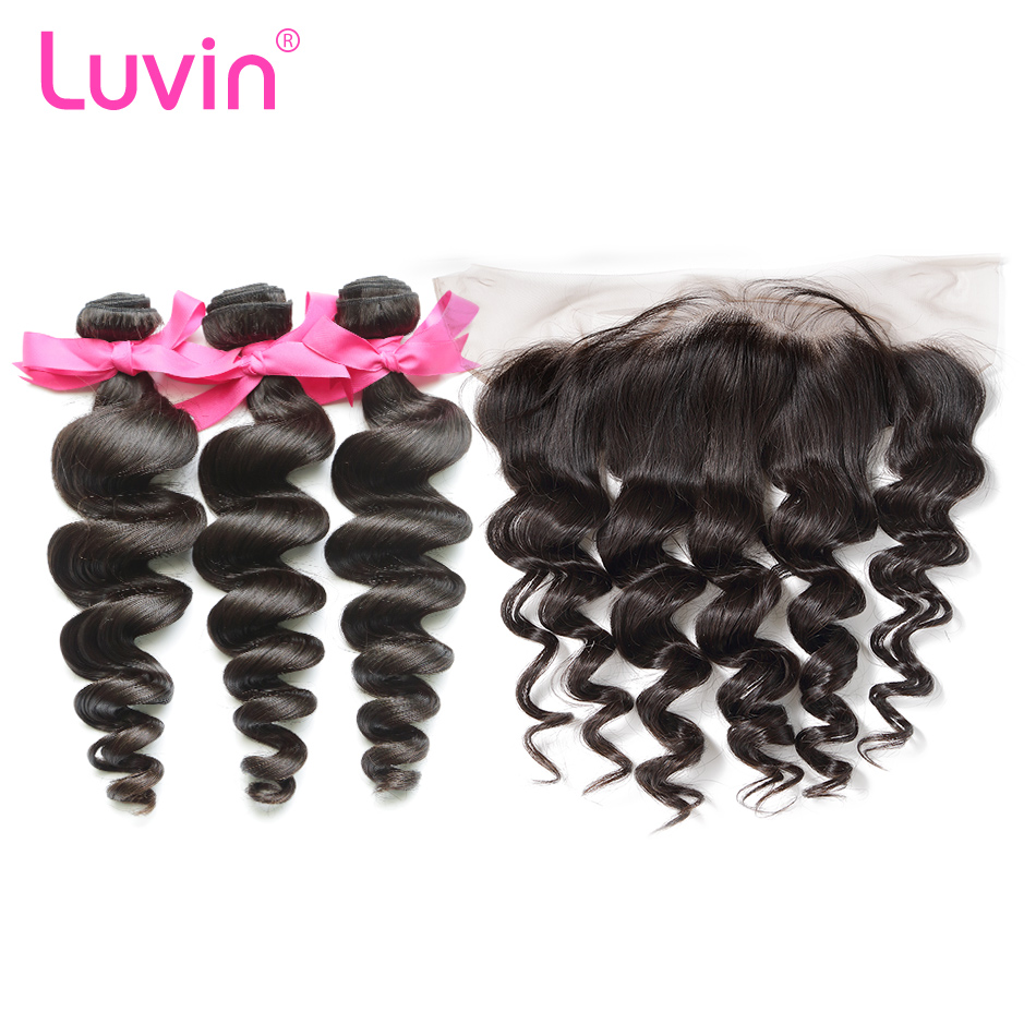 <font><b>Luvin</b></font> OneCut Hair Loose <font><b>Wave</b></font> Brazilian Human Hair 3 4 Bundles With Lace Frontal Closure Free Part 100% Virgin Hair Extensions image