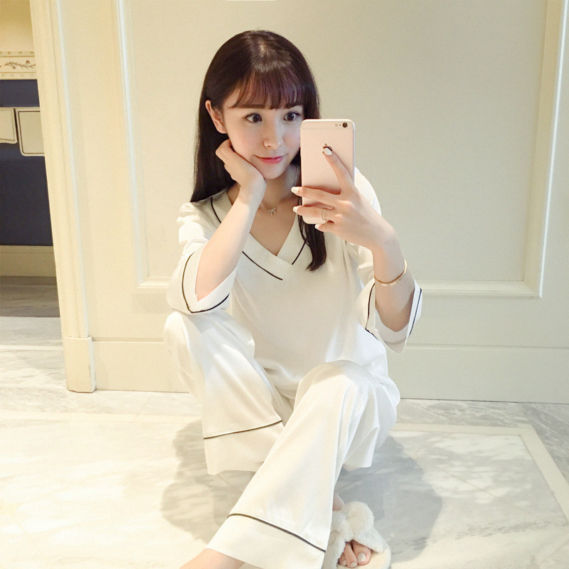 Long Sleeve Imitated Silk Pajamas Women's Autumn Solid Color V-neck Pajamas Underwear Suit 3 Color Selectable