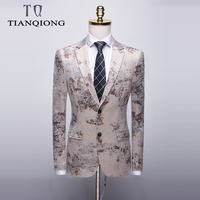 TIAN QIONG White Blazer Men 2019 Slim Fit Flower Pattern Floral Suit Jacket High Quality Casual Male Blazer Prom Blazers