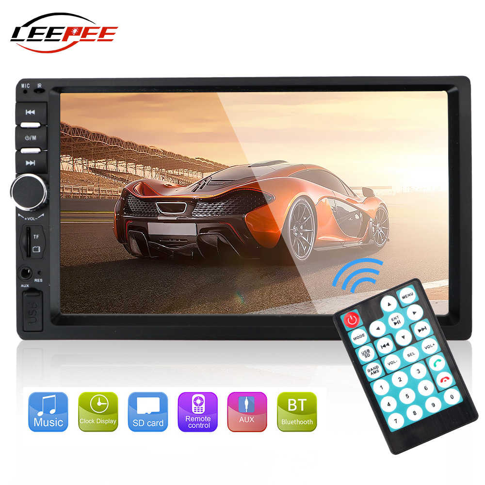 "LEEPEE Aksesoris Mobil Intelligient 7 ""Digital HD Multimedia Pemain MP5 FM 2Din Radio Player BT Layar Sentuh 7010B 7012B 7018B"