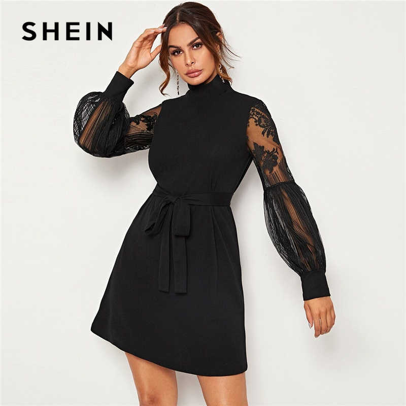 SHEIN High Neck Contrast Lace Lantern Sleeve Elegant Dress With Belt Women Autumn Fashion High Waist Ladies A Line Short Dresses