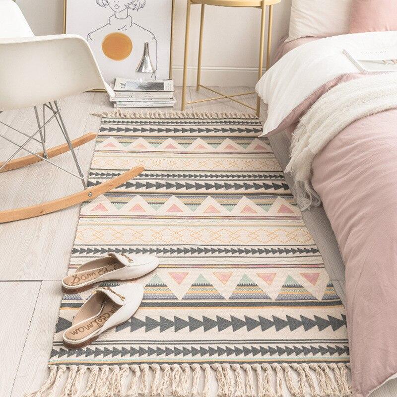 SKTEZO כותנה ופשתן טאסל ארוג שטיח רצפת מחצלת דלת חדר שינה דקורטיבי מארג שמיכת תה סלון שטיח אזור שטיח