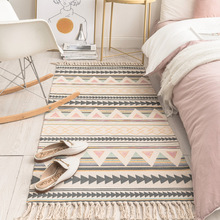 SKTEZO Cotton and Linen Tassel Woven Carpet Floor Mat Door Bedroom Tapestry Decorative Blanket Tea L