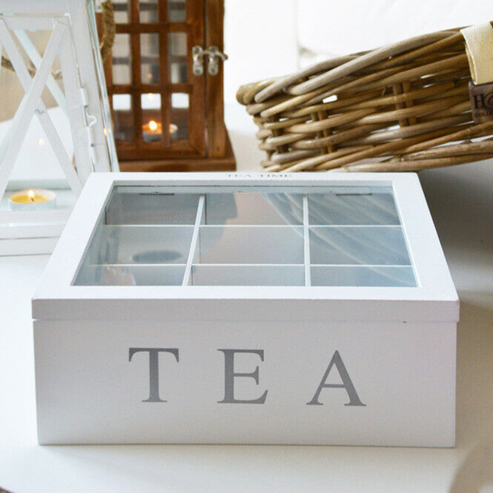 White Natural Bamboo Tea Box With Lid 9-Compartment Coffee Tea Bag Storage Holder Sugar Organizer For Kitchen Cabinets Carefully