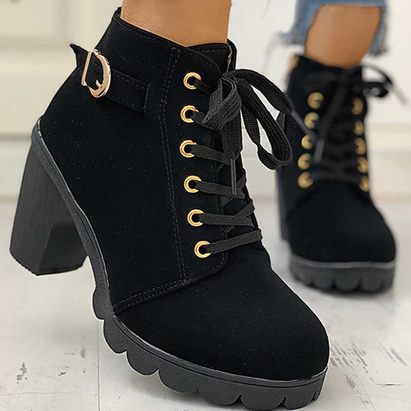 Winter Women Ankle Boots High Chunry Heel Fur Plush Rubber Platform Metal Buckle Zipper Punk Sexy Black Ladies Shoes Botas Mujer