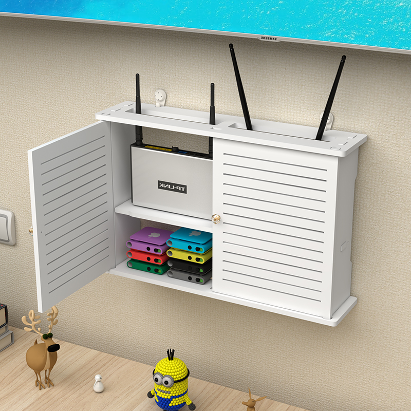 Wireless router storage box living room socket wifi decoration punch free wall mounted TV set top box rack pf83012|Storage Boxes & Bins| |  - title=