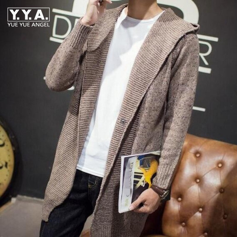 High Quality Mens Autumn Knitwear Hooded Cardigan Male Fashion Casual Long Sweater Slim Fit Outwear Cap Coats Size M-2xl