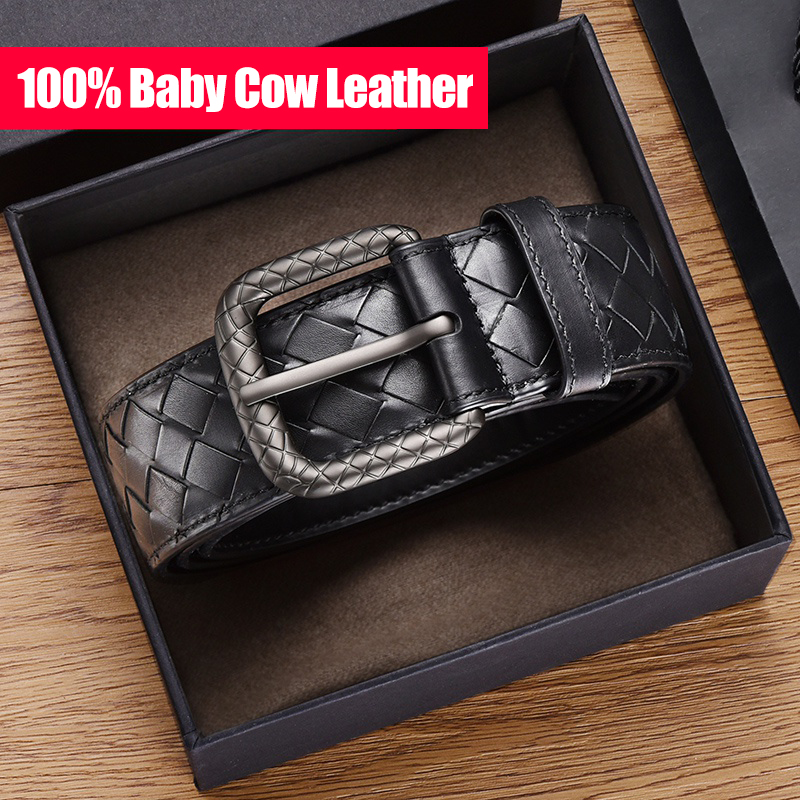100% Leather Woven Belt Men's Leather Business Casual All-match Luxury Brand Leather Belt Gift Box Packaging 2020 New Style Spot