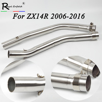 Hot selling For Kawasaki ZX 14R ZX14R ZZR1400 Full System Slip Motorcycle Exhaust Muffler with Middle Link Pipe 2006 2016