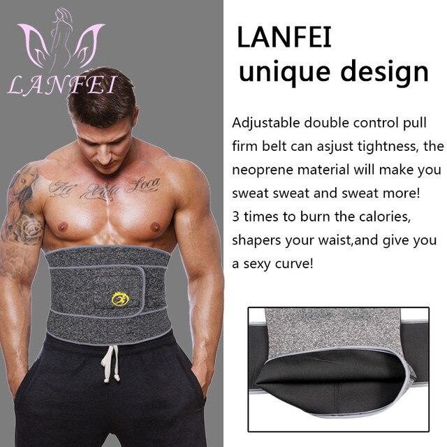 LANFEI Men Neoprene Waist Trainer Trimmer Belt Sauna Slimming Body Shaper Thermal Corset Sport Sweat Cincher Strap Weight Loss 3