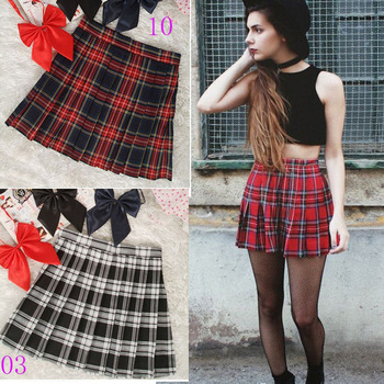 Preppy Style High Waist  Pleated Skirts Women Korean A-Line Short Skirts Uniforms School Kawaii Tartan Plaid Skirt Saias  1