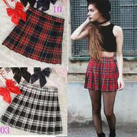 Preppy estilo de cintura alta saias plissadas feminino coreano a-line saias curtas uniformes escola kawaii tartan saia xadrez saias