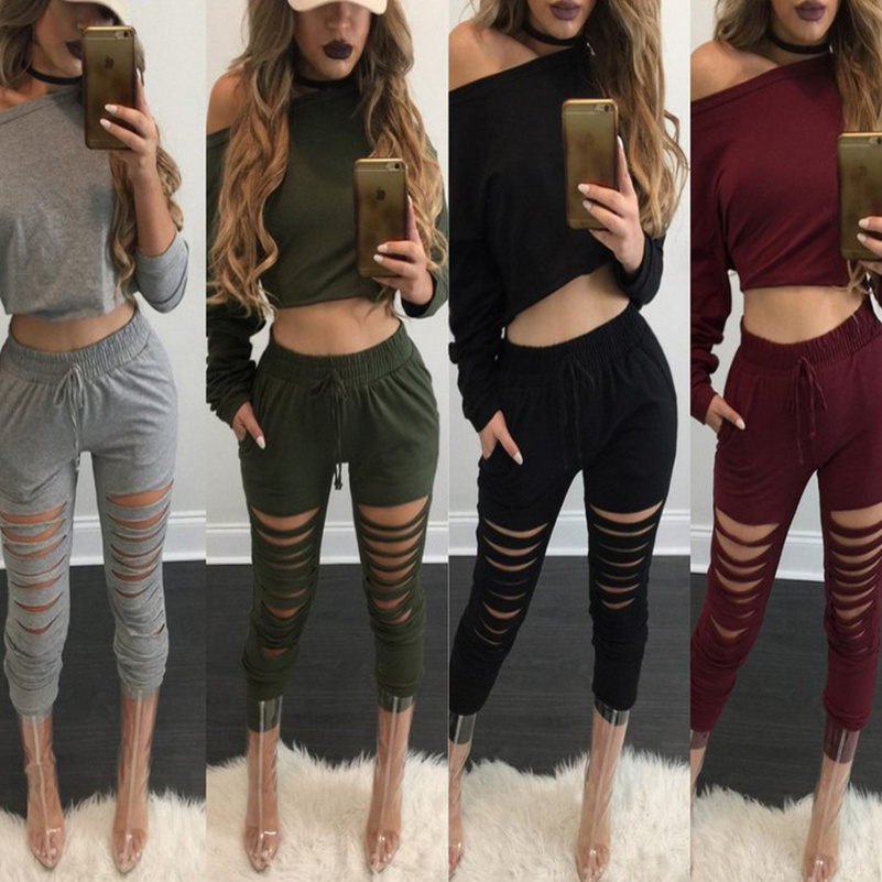 Holed Solid Crop Top Suit Set 2019 Women Tracksuit Two-piece Sport Style Outfit Jogging Sweatshirt Fitness Lounge Sport Wear